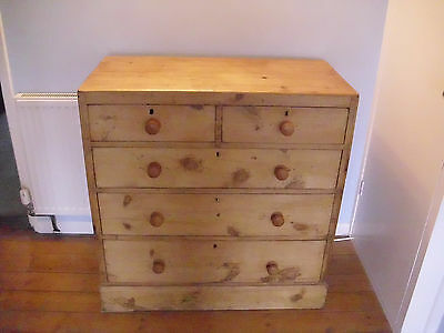 Antique Rustic Stripped Pine Chest of Drawers 2 Short Over 3 Long
