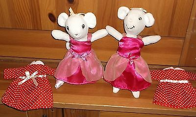 Angelina Ballerina!  Sisters? 2 Pretty White Angelinas In Matching Pink Dresses