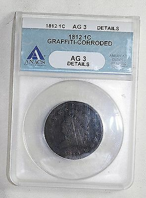 1812  Large Cent  ANACS AG3