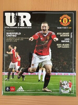 Manchester United Vs Sheffield United FA Cup Football Programme 2016