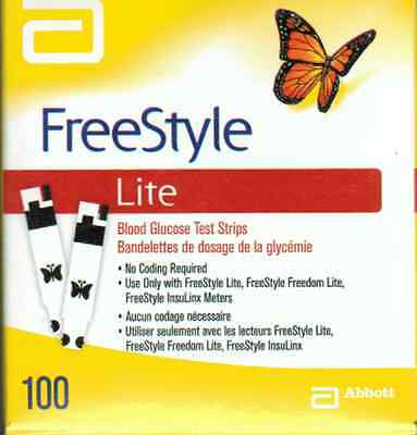 SEALED BOX of 100 FreeStyle LITE TEST STRIPS - EXPIRY 10/2018