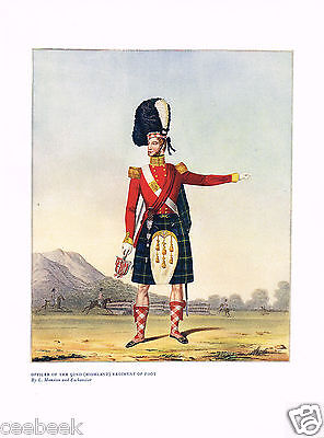 Officer Of The 92nd (Higland) Regiment Of Foot Antique Military Picture Print