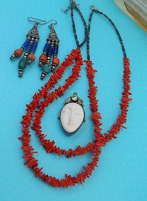 Estate Collection Mixed Lotcoral Necklace Carved Sterling Face Jewel Pin Artist