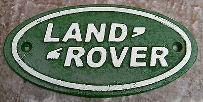 """Superb Heavy Small Cast Iron Advertising Sign For """" Land Rover """" 7"""" Long"""