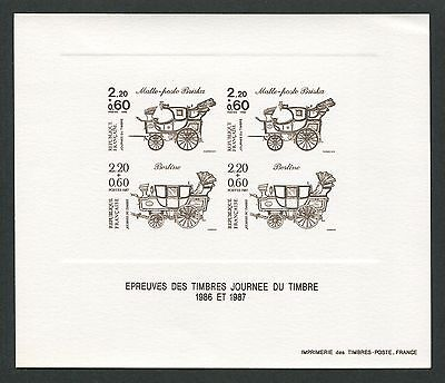 FRANCE EPREUVE DE LUXE 1987 JOURNEE TIMBRE LUXUSBLOCK DELUXE SHEET KUTSCHE h0997