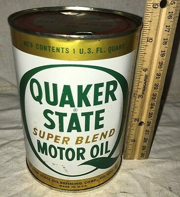 Antique Quaker State Super Blend Motor Oil Tin Litho 1Qt Can Vintage Gas Station