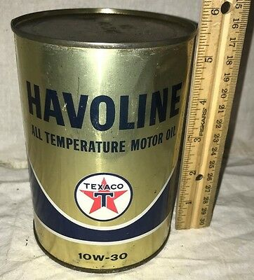Antique Havoline Texaco 1Qt Oil Tin Litho Can Vintage Gas Service Station Old