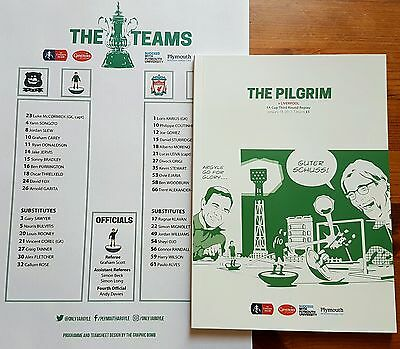 PLYMOUTH Argyle LIVERPOOL Programme Teamsheet FA Cup 3rd Round REPLAY 18/01/17