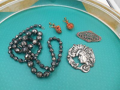 Estate  Mixed Lotjewelry Deco Pins Glass Necklace Old Coral Dangle Earrings
