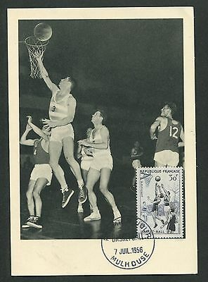 FRANCE MK 1956 SPORT BASKETBALL SPORTS MAXIMUMKARTE CARTE MAXIMUM CARD MC d5897