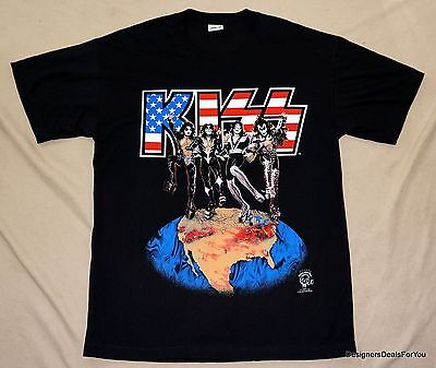 "Kiss  – ""Alive"" – Xl World Tour Dallas Black T-Shirt 1996 New Authentic Tshirt"