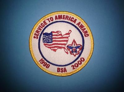 Rare BSA Boy Scouts Service to America Award 1998 to 2000 Badge Patch Crest
