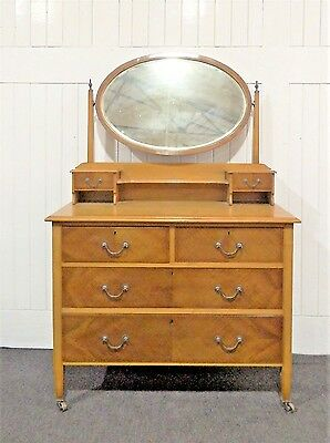 Antique mirror dressing table / chest of drawers