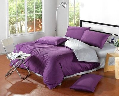 Twin Full Queen King Solids REVERSIBLE DUVET COVER SET EGYPTIAN COTTON #701
