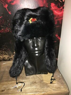 Black Unisex Real Coney Fur Russian Cossack Fur Trapper Hat 22 Inches