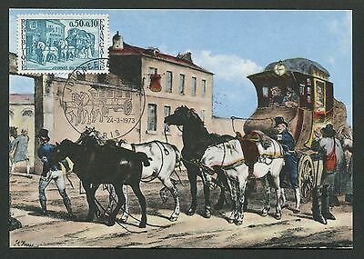 FRANCE MK 1973 PFERDEKUTSCHE PFERD HORSE MAXIMUMKARTE MAXIMUM CARD MC CM d5497