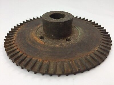 "Heavy Gauge 4"" Vintage Steam Punk Lamp Base Gear Brass 12 oz"