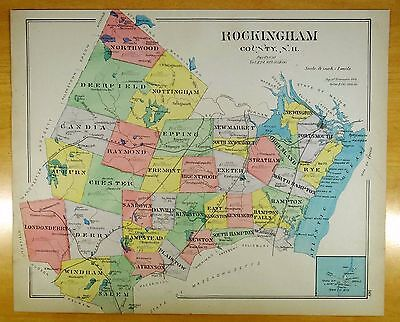 Antique NH Maps 1892 Hand-Colored ROCKINGHAM COUNTY + Portsmouth, New Hampshire