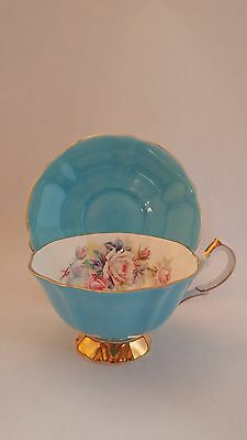 Queen Anne White Rose & Floral Bouquet Blue Cup & Saucer Set in Exc. Condition
