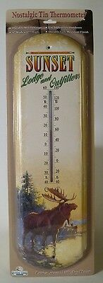SUNSET LODGE & OUTFITTERS NOSTALGIC TIN THERMOMETER Moose Metal NEW Camp Hunting