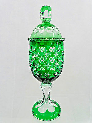 "Antique Large 13"" European Hand Cut Crystal Glass Pokal Goblet Covered Cup Green"