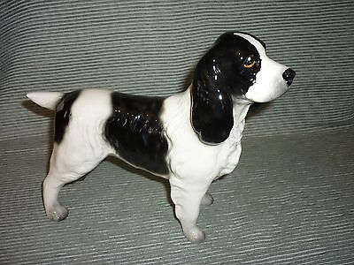 Vintage Melba Ware or Coopercraft Ceramic Black and White Spaniel