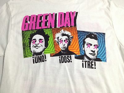 Green Day Tour Uno, Dos, Tre 2-Sided Graphics White T-Shirt Adult Size Medium