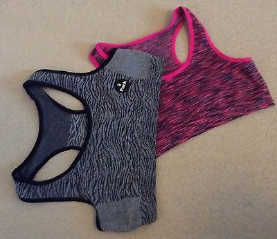 2 x girls Pink/Grey seamfree sports racer crop vest bra tops 7-13 years Primark