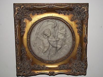 Vintage Framed Cherubs Riding Dolphins Marble Plaque / Picture.
