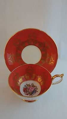 Aynsley Burnt Orange JA Bailey Handpainted Roses 1543 Cup and Saucer With Gold