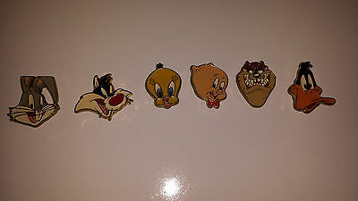 Looney Tunes Button Covers,Set of 6, Bugs, Daffy, Taz, Porkey, Tweety, Sylvester