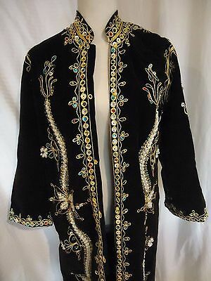 One-of-a-kind embroidered, beaded velvet full-length over-the-top coat