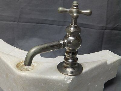 Antique Nickel Brass Hot or Cold Bathroom Sink Faucet old Vtg Plumbing 39-17E