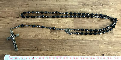 VINTAGE BLACK ROSARY Prayer BEADS Necklace - 75cm Long Approx