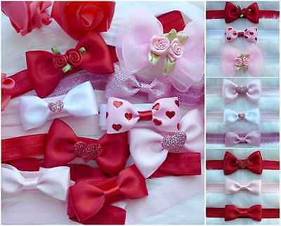 *baby Girls Valentines Day Collection Of Red Pink Headbands Hairband Gift Bag*