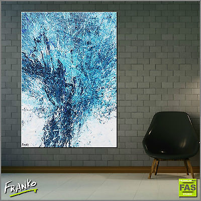 Modern Textured Abstract Painting Art Canvas Blue 140cm x 100cm Franko Australia