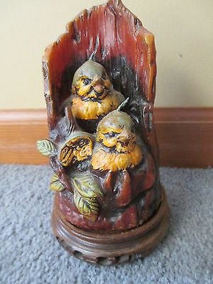 @@VINTAGE Bird ROBIN Chicks TREE Nest CANDLE Wood BASE Figurine UNIQUE Wax