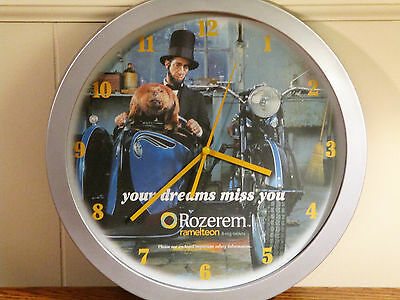 Pharmaceutical Advertisement WALL CLOCK   Abe Lincoln & Friend on Motorcycle
