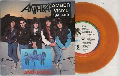 """ANTHRAX Anti-Social  7"""" Amber Vinyl, Ps With Holographic Anthrax Sticker On Fron"""