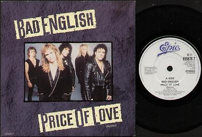 """BAD ENGLISH Price Of Love  7"""" Ps, Remix B/W The Restless Ones, 655676 7"""