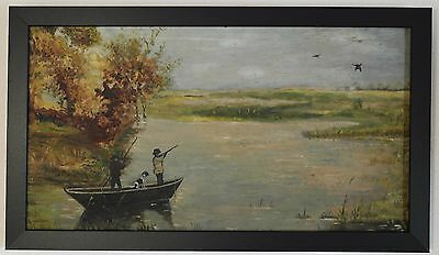 19th Century Oil on Canvas Naive Folk Art Genre Painting of a Hunting Scene