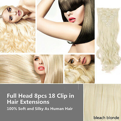 UK Full Head 18clips Clip in on Hair Extensions Real thick human synthetic Hair