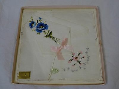 Ladies Handkerchiefs Set of 2 in Box Austria Linen Floral Embroidered