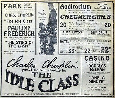 Rare Large 1921 Charlie Chaplin Newspaper Movie Ad - The Idle Class
