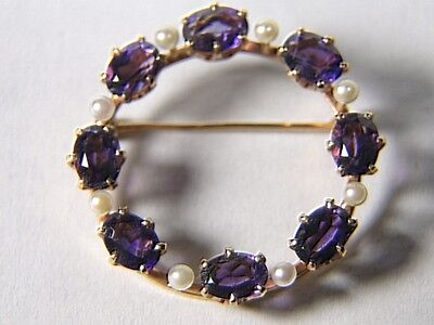 Vintage 14K Gold Deep Amethyst  & Pearl Circle Brooch PIN