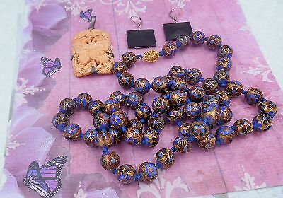 ESTATE COLLECTION LOT Oriental closionee bead necklace silver carved bfly pend