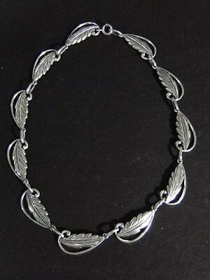 Vintage Danecraft Sterling Silver Leaf NECKLACE Reg US Pat Off Mark