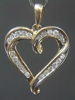 10K Yellow Gold Swirl Heart Pendant Set with 24 Diamonds 1/2 ct TW