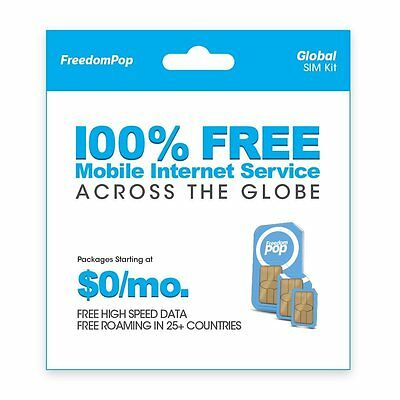 FreedomPop 3 in 1 Global SIM Card Kit FREE Service 700MB no credit card required