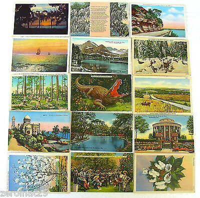 Wwii Era Collection Of 15 Linen Post Cards Set Of Fifteen (15)